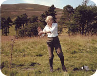 Gerda aged 82 practising tai-chi  on a Scottish mountainside